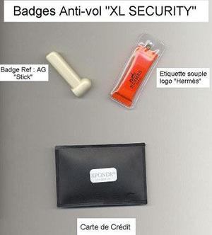 Badges antivol stick, etiquette, carte